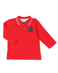 BOSS Baby Boys Red Baby Circle Logo Long Sleeve Polo Shirt