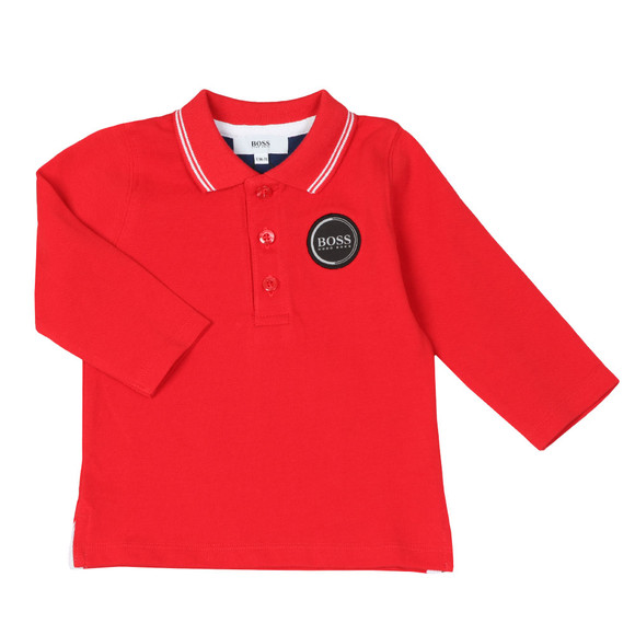 BOSS Boys Red Baby Circle Logo Long Sleeve Polo Shirt main image