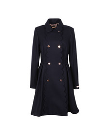 Ted Baker Womens Blue Blarnch Scallop Trim Wool Coat