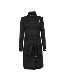 Ted Baker Womens Black Narrla Stripe Long Wrap Coat