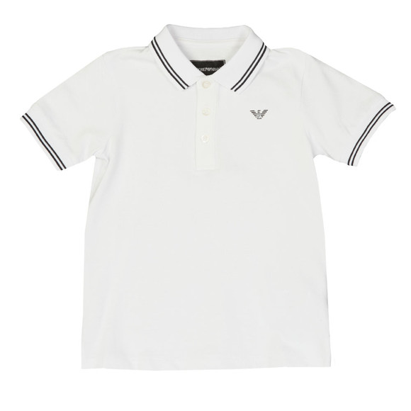 Emporio Armani Boys White Tipped Polo Shirt