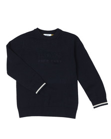 BOSS Boys Blue Boys Embossed Knitted Jumper