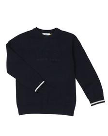 BOSS Boys Blue Boys Embossed Knitted Jumper