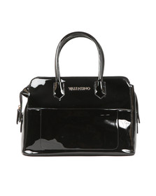 Valentino by Mario Womens Black Ribave Satchel Handbag