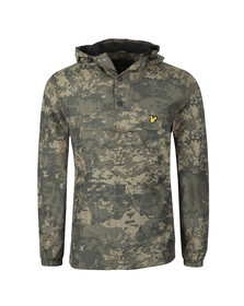 Lyle and Scott Mens Green Printed Overhead Anorak