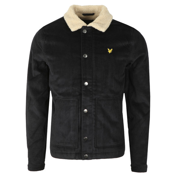 Lyle and Scott Mens Black Jumbo Cord Shearling Jacket main image