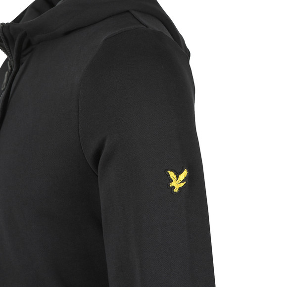 Lyle and Scott Mens Black Fabric Mix Zipthrough Hoodie main image
