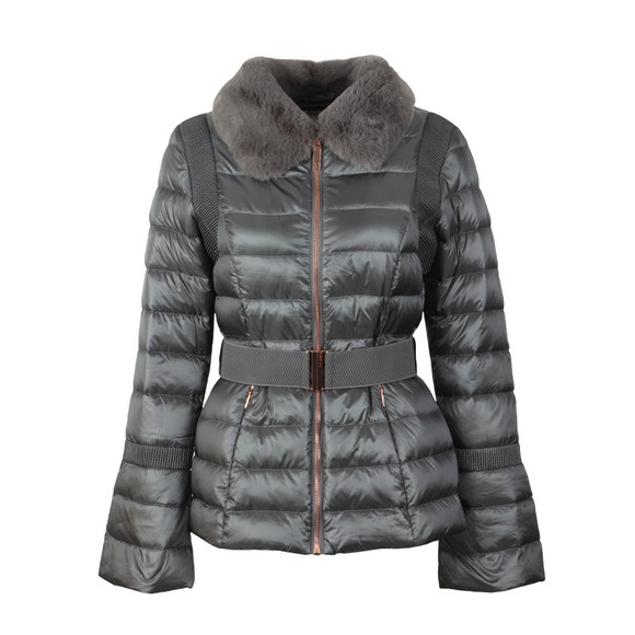 Ted Baker Womens Grey Yelta Faux Fur Collar Down Jacket main image