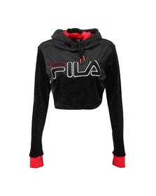 Fila Womens Black Antonella Cropped Velour Hoody