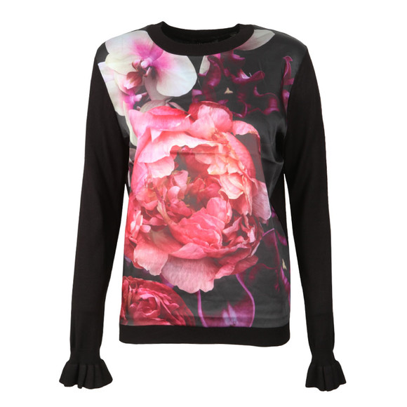 Ted Baker Womens Black Loolie Splendour Print Hi Neck Jumper main image