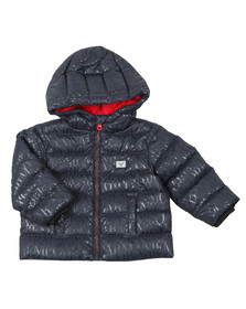 Emporio Armani Baby Boys Blue Allover Logo Hooded Down Jacket