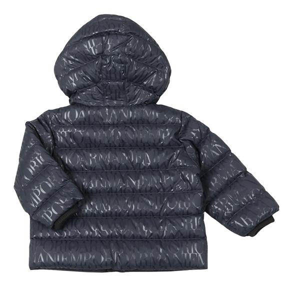 Emporio Armani Baby Boys Blue Allover Logo Hooded Down Jacket main image