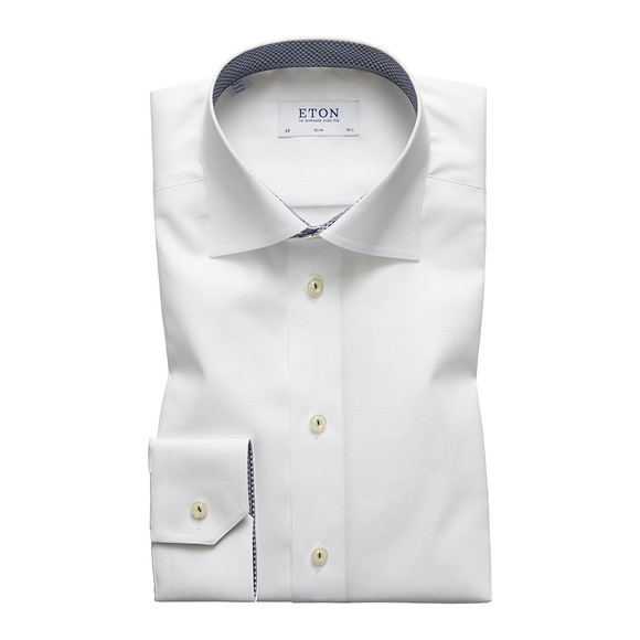 Eton Mens White Micro Panda Detail Shirt