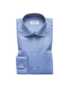 Eton Mens Blue Micro Panda Detail Shirt