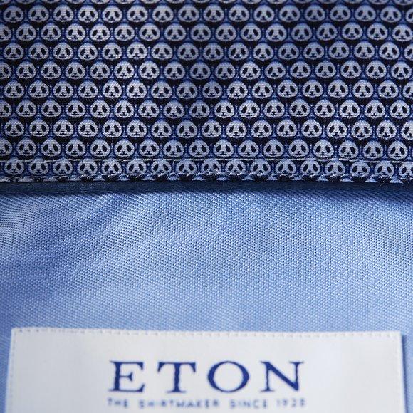 Eton Mens Blue Micro Panda Detail Shirt main image