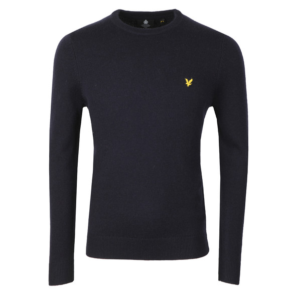 Lyle and Scott Mens Blue Crew Neck Lambswool Blend Jumper main image