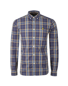 Lyle and Scott Mens Blue Poplin Fine Check Shirt