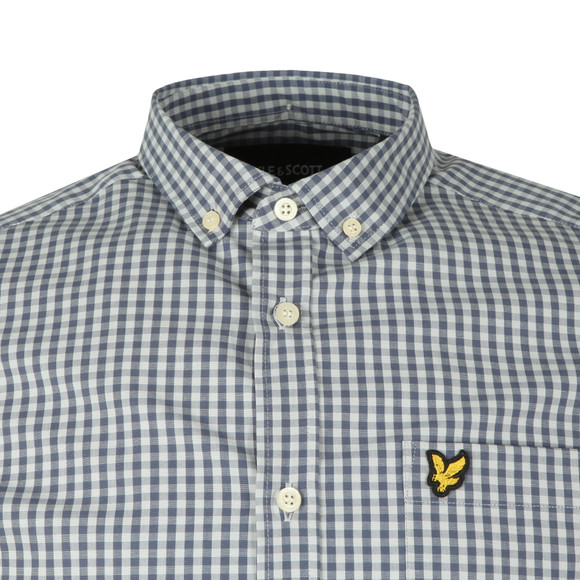 Lyle and Scott Mens Blue LS Slim Fit Gingham Shirt main image