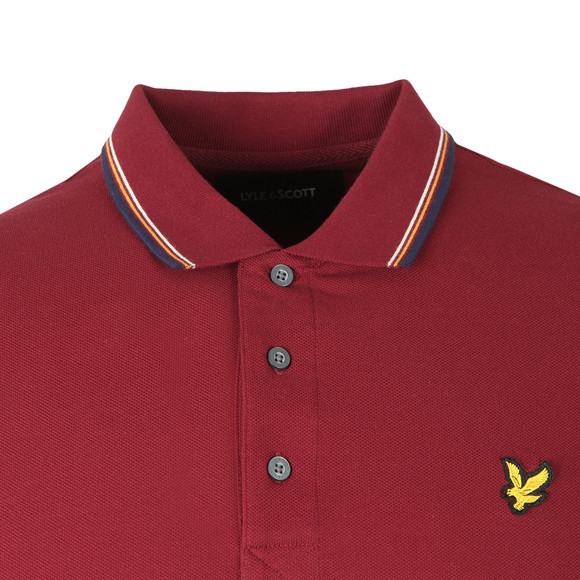Lyle and Scott Mens Red LS Tipped Polo Shirt main image