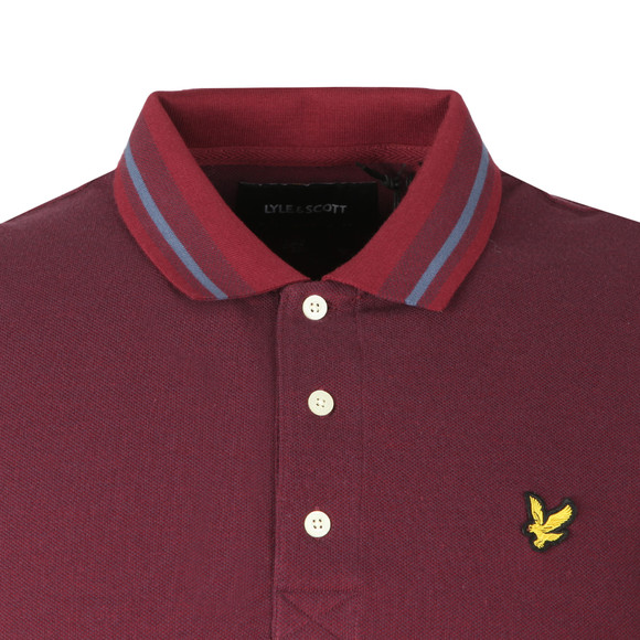 Lyle and Scott Mens Purple Oxford Tipped Pique Polo Shirt main image