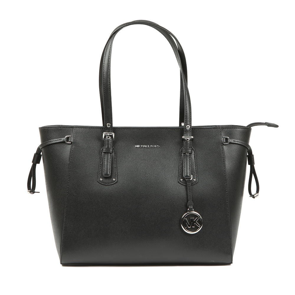 5f624573719a Michael Kors Womens Black Voyager Medium Leather Tote Bag