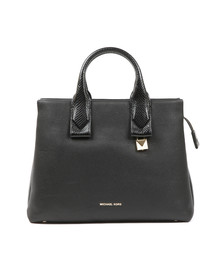 Michael Kors Womens Black Rollins Large Snake Embossed Leather Satchel