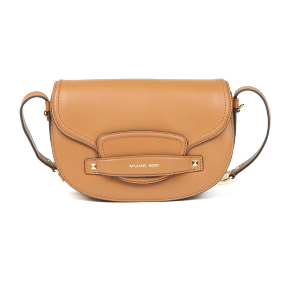 Michael Kors Womens Brown Cary Medium Leather Saddle Bag main image