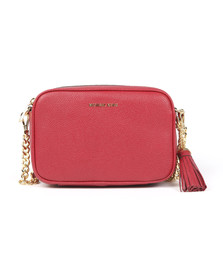 Michael Kors Womens Red Ginny Leather Crossbody