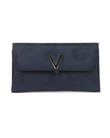 Valentino by Mario Womens Blue Flash Suede Clutch
