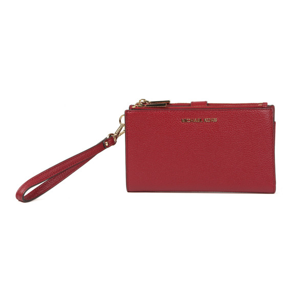 Michael Kors Womens Red Mercer Pebble Double Zip Wristlet Purse main image