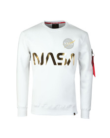 Alpha Industries Mens White NASA Reflective Sweat