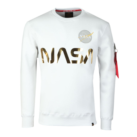 Alpha Industries Mens White NASA Reflective Sweat main image