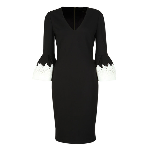 Ted Baker Womens Black Rastrel Fluted Embroidery Sleeve Dress main image