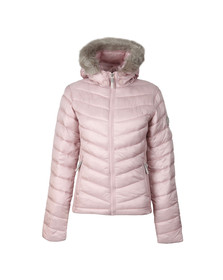 Superdry Womens Pink Hooded Luxe Chevron Fuji Jacket