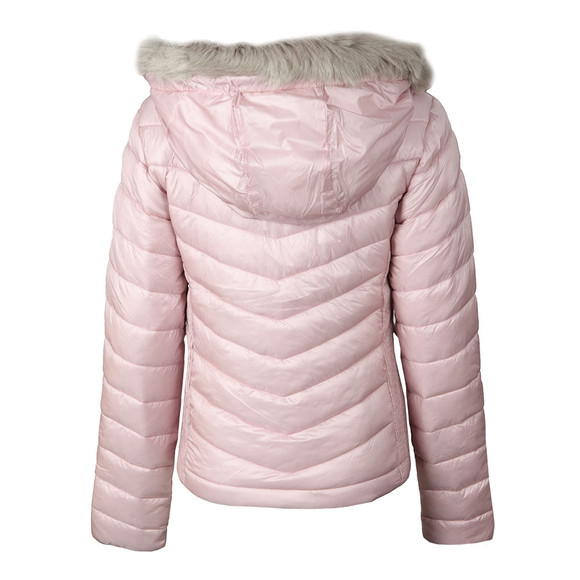 Superdry Womens Pink Hooded Luxe Chevron Fuji Jacket main image