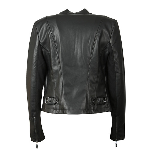 French Connection Womens Black Stephanie PU Waterfall Front Jacket main image