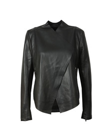 French Connection Womens Black Stephanie PU Waterfall Front Jacket