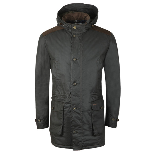 Barbour Lifestyle Mens Green Crieff Waxed Coat main image