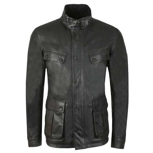 Barbour International Mens Black Paul Leather Jacket main image