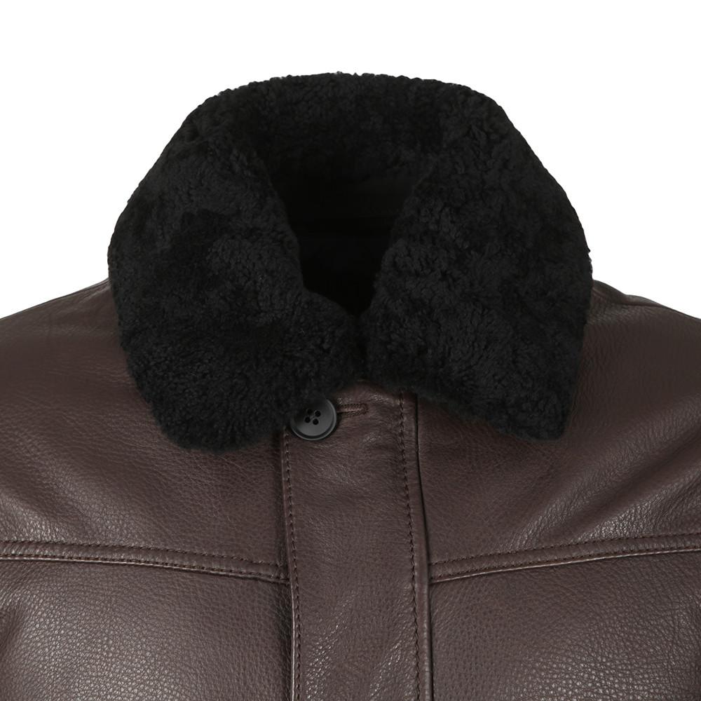 Shearling Collar Leather Aviator Jacket main image
