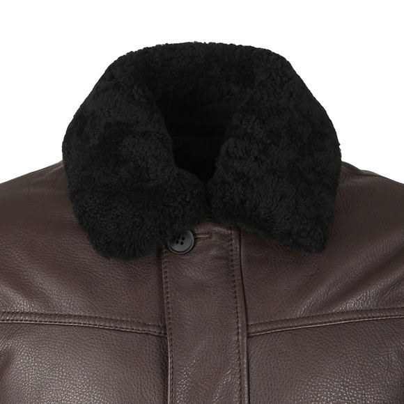 BOSS Mens Brown Casual Shearling Collar Leather Aviator Jacket main image