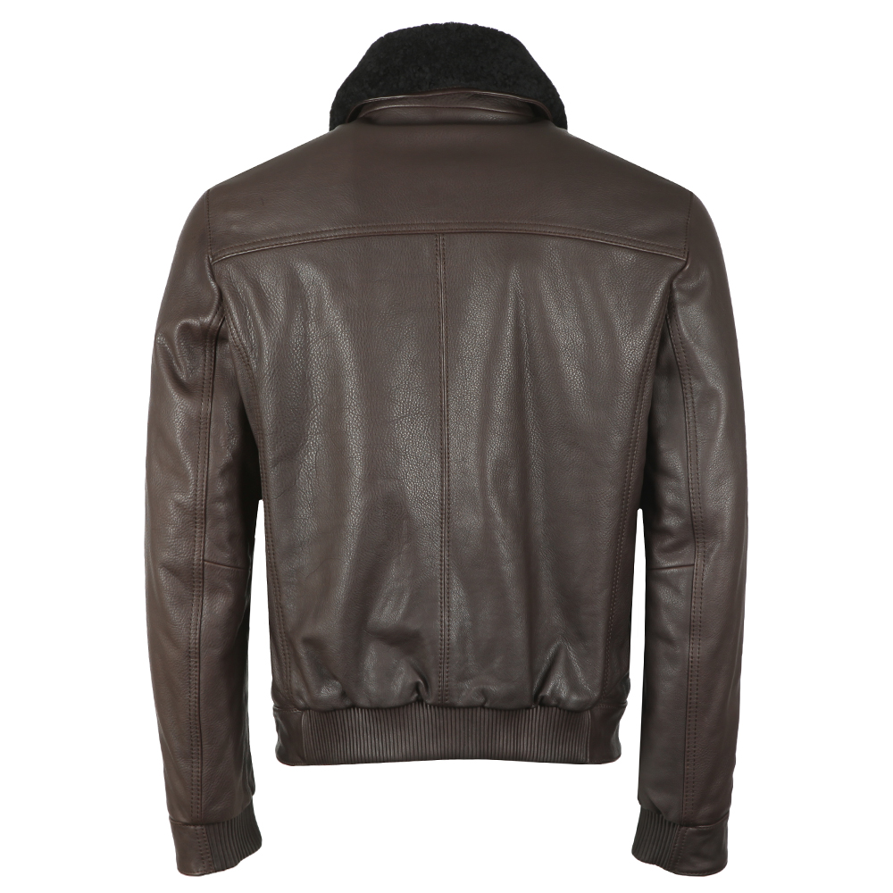 Casual Shearling Collar Leather Aviator Jacket main image