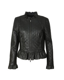 French Connection Womens Black Brishen Frill Edge Biker Jacket