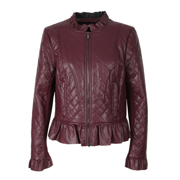 French Connection Womens Purple Brishen Frill Edge Biker Jacket main image