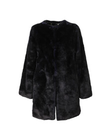 Michael Kors Womens Blue Long Faux Fur Coat