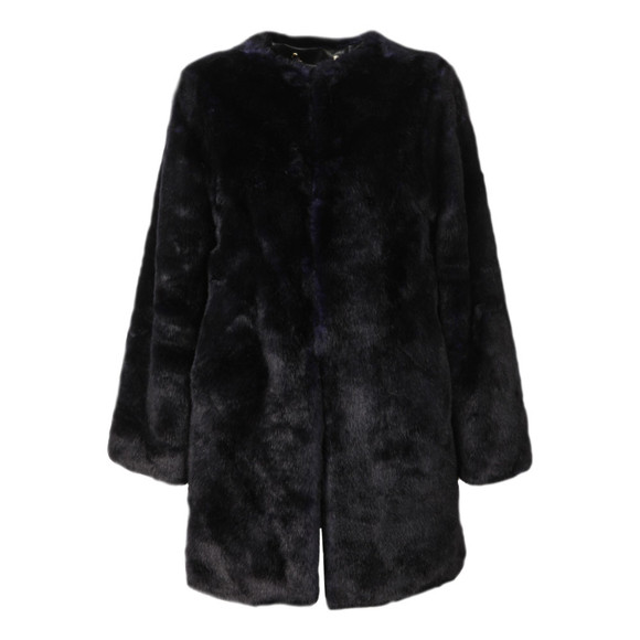 Michael Kors Womens Blue Long Faux Fur Coat main image