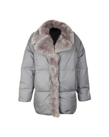 French Connection Womens Grey Devon Quilt Fur Trim Wrap Coat