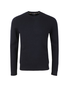 Aquascutum Mens Blue Lance Lambswool Jumper With Elbow Patch
