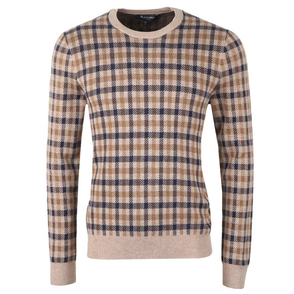 Aquascutum Mens Brown Hinton CC Jaquard Jumper main image