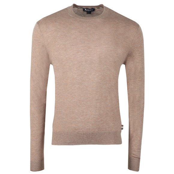 Aquascutum Mens Beige Croft Crew Neck With Elbow Patch main image